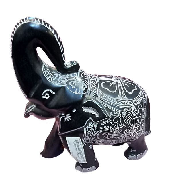 Elephant Handcrafted In Black Stone Size 10 Inches