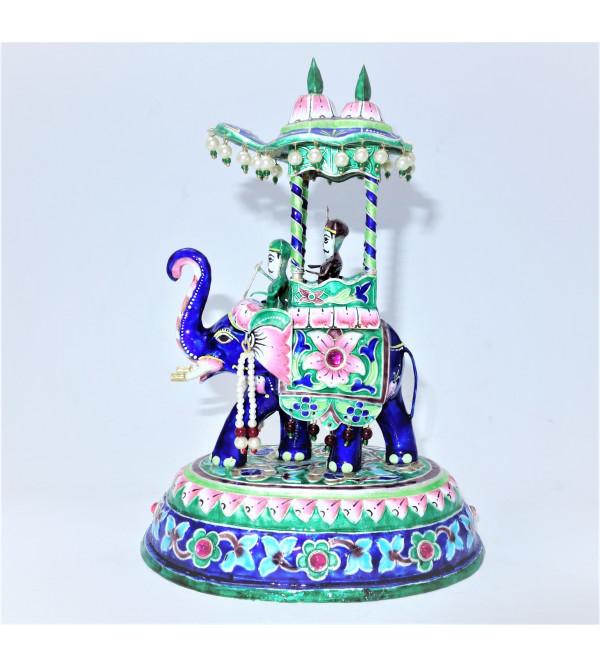 AMBARI SILVER ELEPHANT MEENAKARI BANARAS 7 Inch