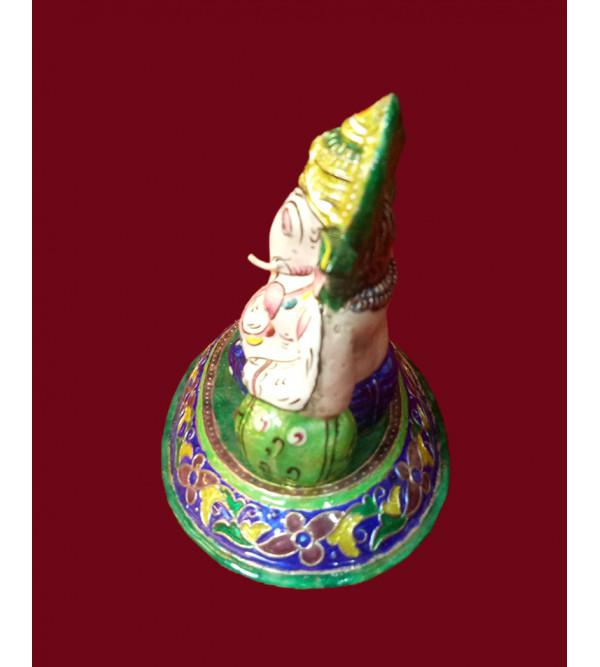 Handcrafted Silver Gulabi Meenakari (Enamel) Ganesha Size 5x4 Inch