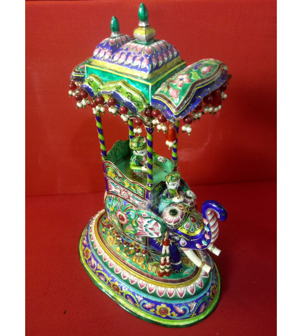 Handcrafted Silver Gulabi Meenakari Elephant Ambari Size 12x9 Inch