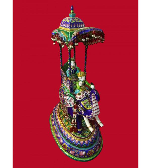 Handcrafted Silver Gulabi Meenakari Ambari Size 15 Inch
