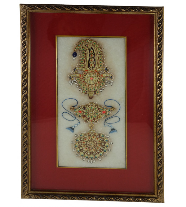 HANDICRAFT JEWELRY PAINTING FRAMED 4x9 Inch
