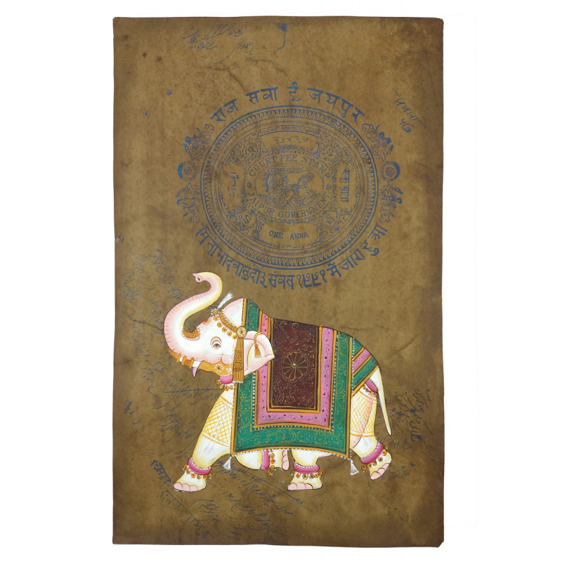 HANDICRAFT ASSORTED ELEPHANT ON OLD STAMP PAPER WITHOUT FRAME A4 SIZE