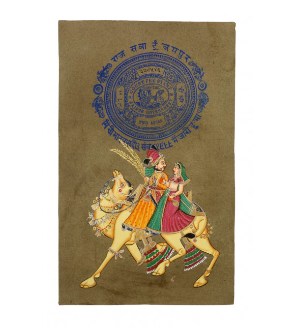 HANDICRAFT ASSORTED DHOLA MARU ON OLD STAMP PAPER WITHOUT FRAME A4 SIZE