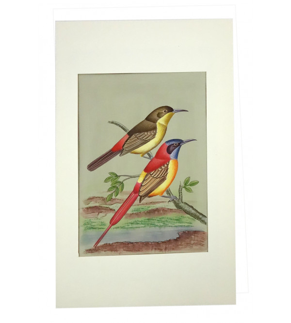 HANDICRAFT ASSORTED BIRDS PAINTING ON PAPER 7X11 INCH