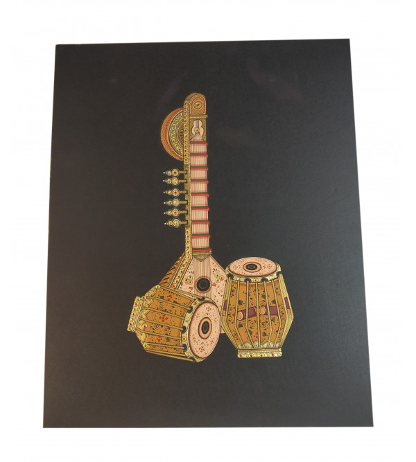 Musical Instrument Painting Handcrafted With Gold Leaf Work