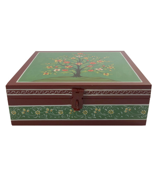 Wooden Hand Painted Box Size 8X8X2.5 Inches