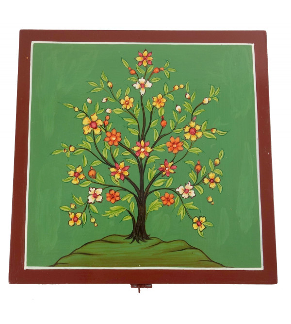 HANDICRAFT WOODEN PAINTED BOX 8X8X2.5 INCH