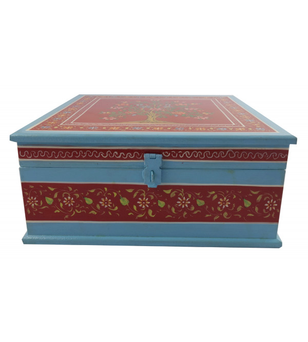 HANDICRAFT WOODEN PAINTED BOX 10X10X4 INCH