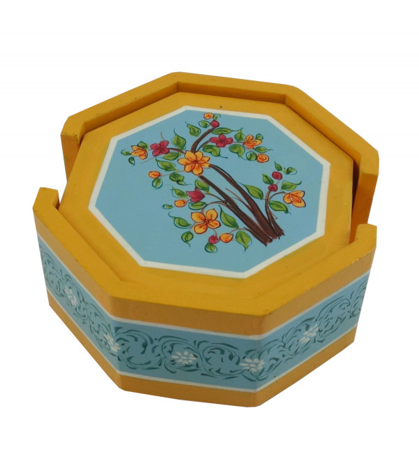 Wooden Hand Painted Coaster Set