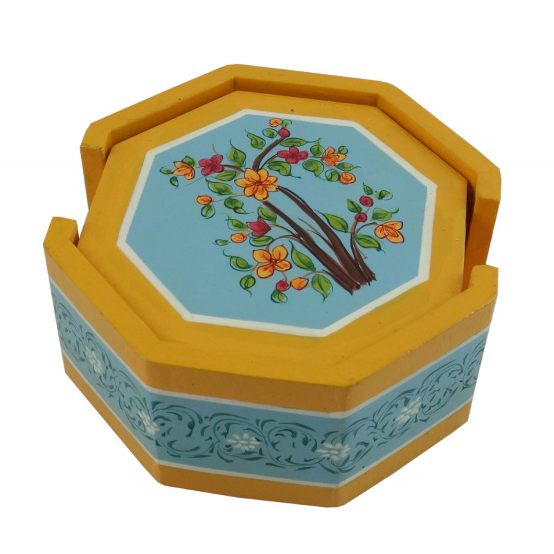 HANDICRAFT WOODEN PAINTED ARTICLE CORNERS COASTER