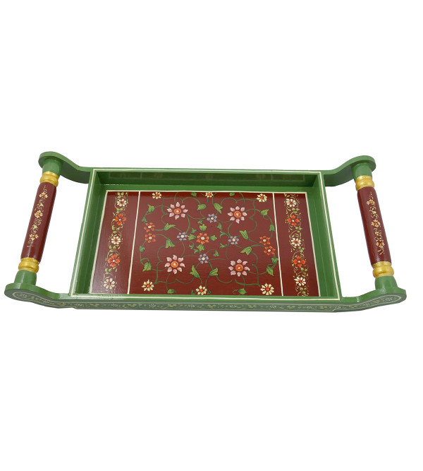 HANDICRAFT ASSORTED KISHANGARH STYLE PAINTED TEA TRAY IN PLY WOOD 18X8 INCH