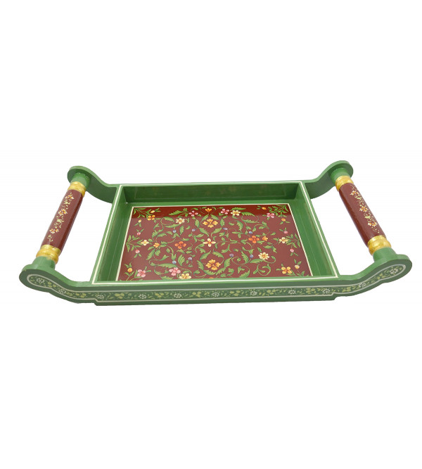 HANDICRAFT ASSORTED KISHANGARH STYLE PAINTED TEA TRAY IN PLY WOOD 16X8 INCH