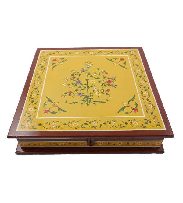 HANDICRAFT ASSORTED KISHANGARH SYLE PAINTED BOX IN PLY WOOD 12X12X2 INCH