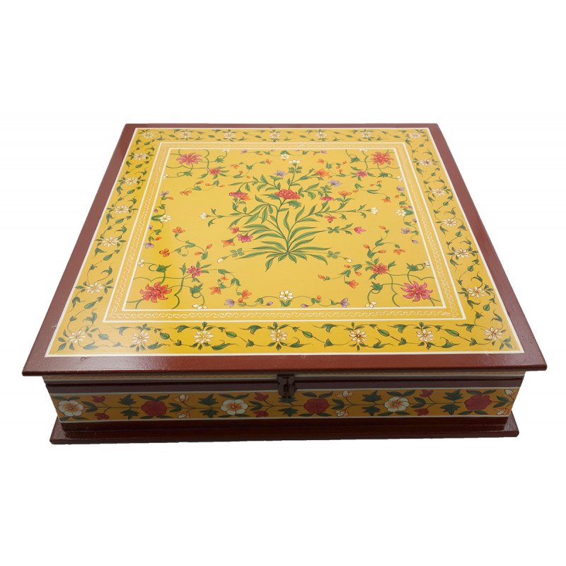HANDICRAFT ASSORTED KISHANGARH SYLE PAINTED BOX IN PLY WOOD 18X18X4.5 INCH
