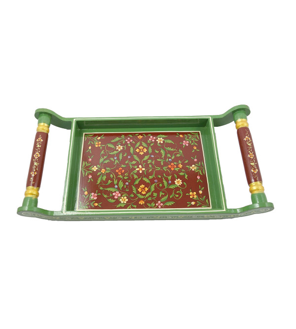 HANDICRAFT ASSORTED KISHANGARH STYLE PAINTED TEA TRAY IN PLY WOOD 14X8 INCH
