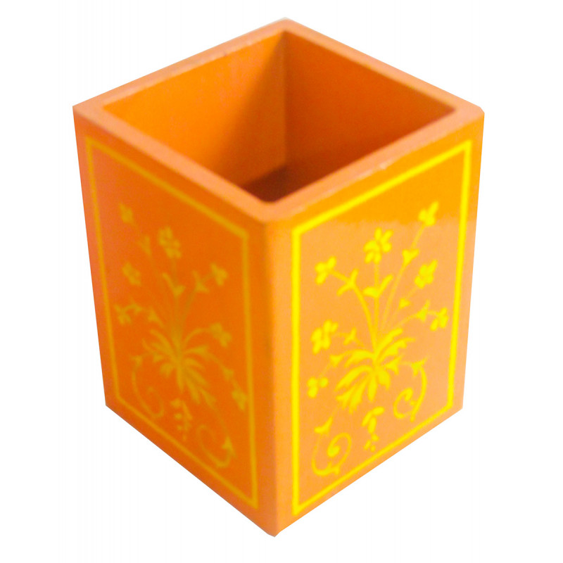 Kishangarh Style Plywood Painted Pen Stand With Assorted Colour