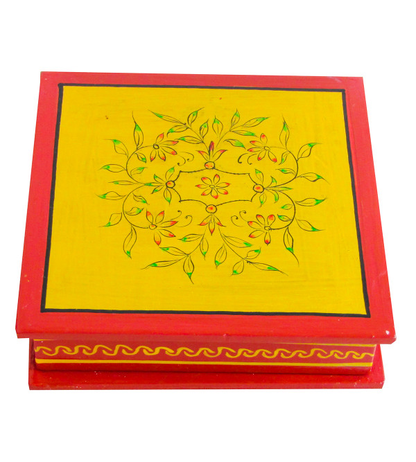 Kishangarh Style Ply Wood Painted Coaster Set Square with Cover 6 Pcs