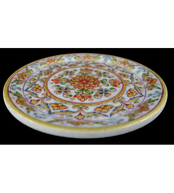 PLATE 6 Inch MARBLE real gold leaf