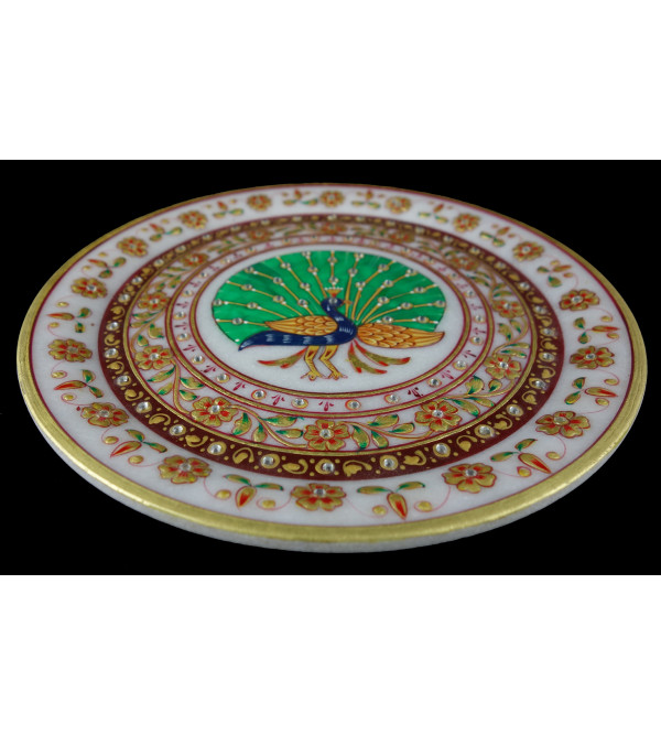 PLATE 9 Inch MARBLE real gold leaf
