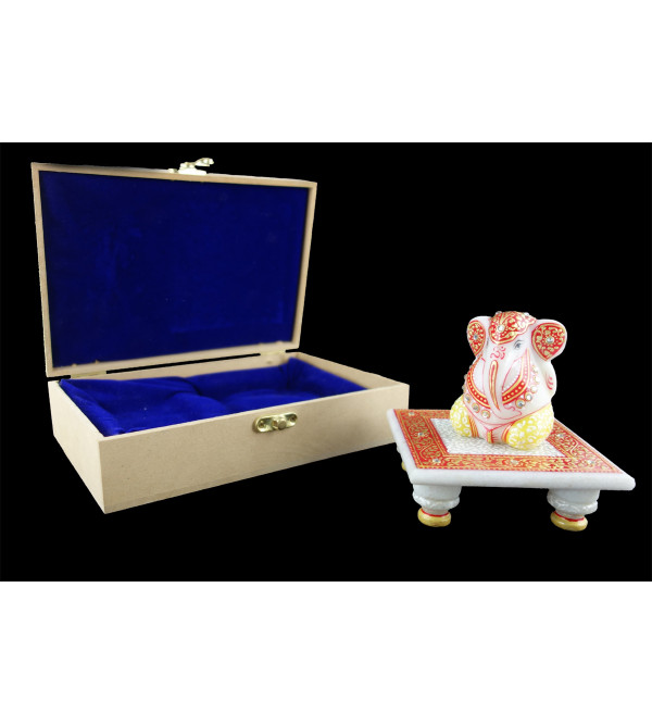 GANESHA CHOWKIE SET MARBLE SIMPLE  WORK WITH REAL GOLD Leaf 4x4 Inch