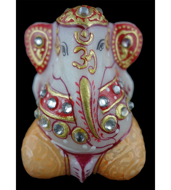 GANESHA FINE WORK  WITH REAL GOLD marble 2 Inch