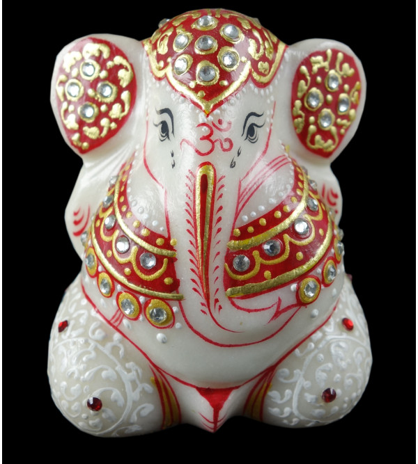 GANESHA FINE WORK  WITH REAL GOLD marble 3 Inch