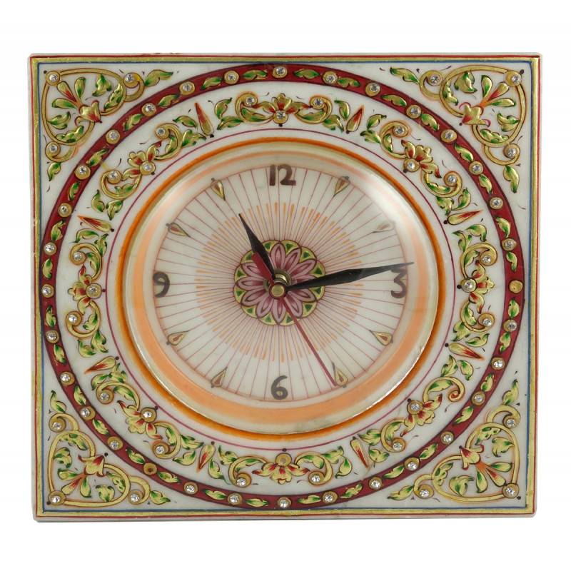 HANDICRAFT GOLD LEAF WATCH SQUARE 8x8 Inch marble