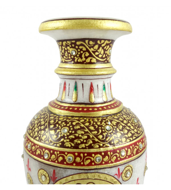 HANDICRAFT 7X3.5 Inch FLOWER VASE MARBLE REAL GOLD LEAF WORK