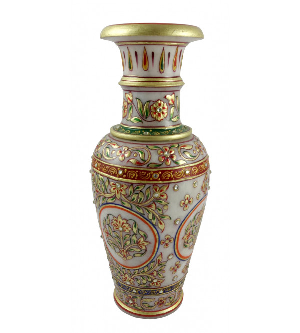 HANDICRAFT FLOWER VASE 9x4 INCH REAL GOLD LEAF WORK