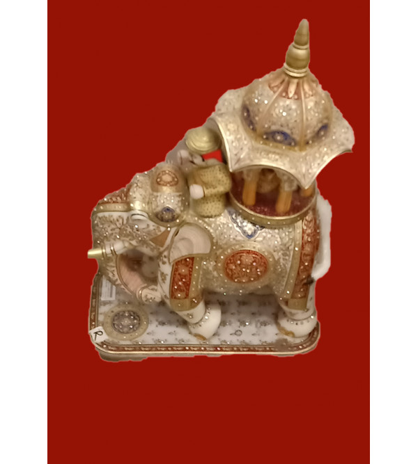 Marble Ambari Handcrafted With Pure Gold Leaf Work