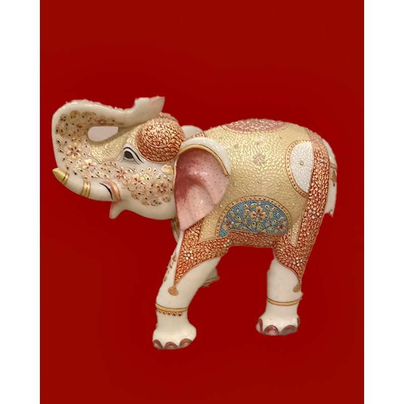 Marble Elephant Handcrafted With Pure Gold Leaf