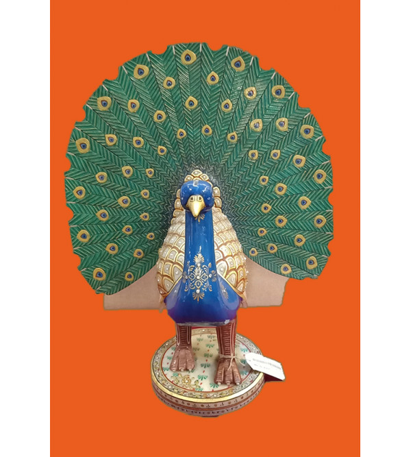 Dancing Peacock Handcrafted With Pure Gold Leaf Work