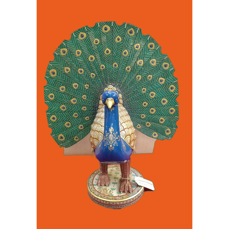 18 PEACOCK DANCING FINE  FLORAL WORK WITH REAL GOLD