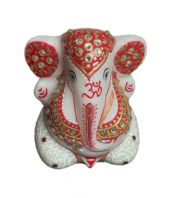 2 GANESH4^CHOWKIE SET MARBLE SIMPLE  WORK WITH REAL GOLD Assorted Color and designs