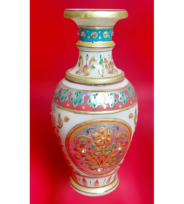 Flower Vase Handcrafted With Pure Gold Leaf Work Size 3X5 Inches