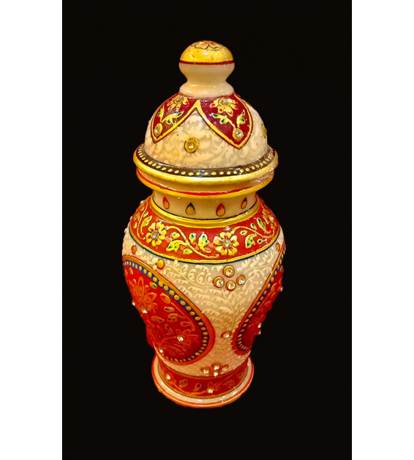 8X4 BARNI WITH LID FLORAL REAL GOLD WORK