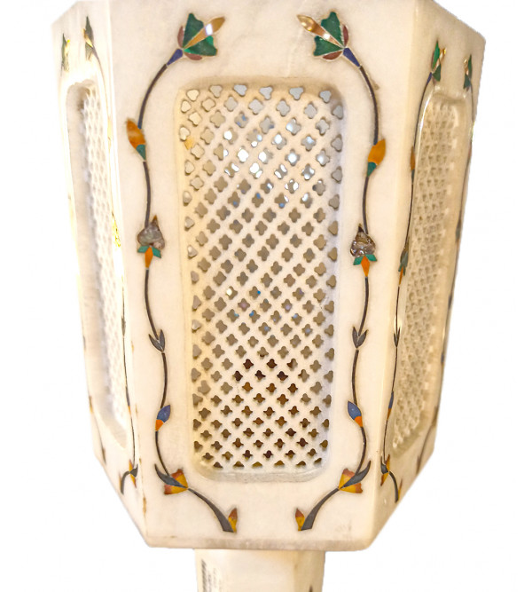 Alabaster Lamp With Semi Precious Stone Inlay Work Size 10 Inch