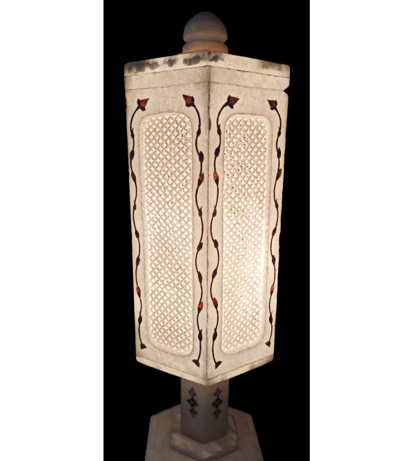 Alabaster Lamp With Semi Precious Stone Inlay Work Size 12 Inch