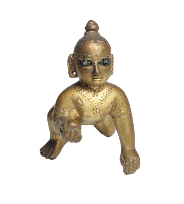 Baby Krishna Handcrafted In Brass
