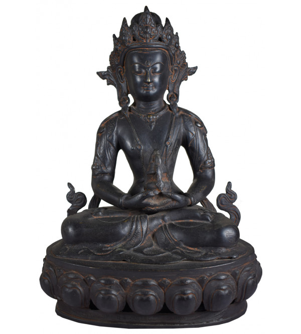 Buddha Double Lotus Handcrafted In Bronze Size 15 Inches