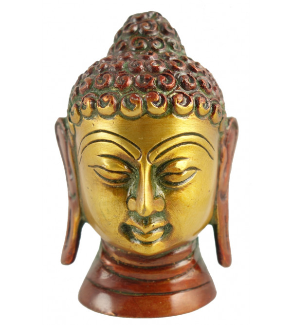 Buddha Head Handcrafted In Brass Size 3.5 Inches