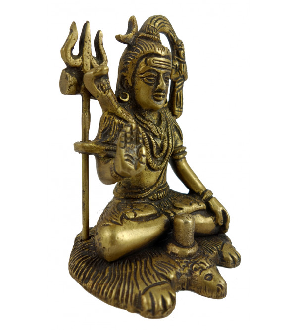 HANDICRAFT BRASS  SHIVA SITTING 5 INCH