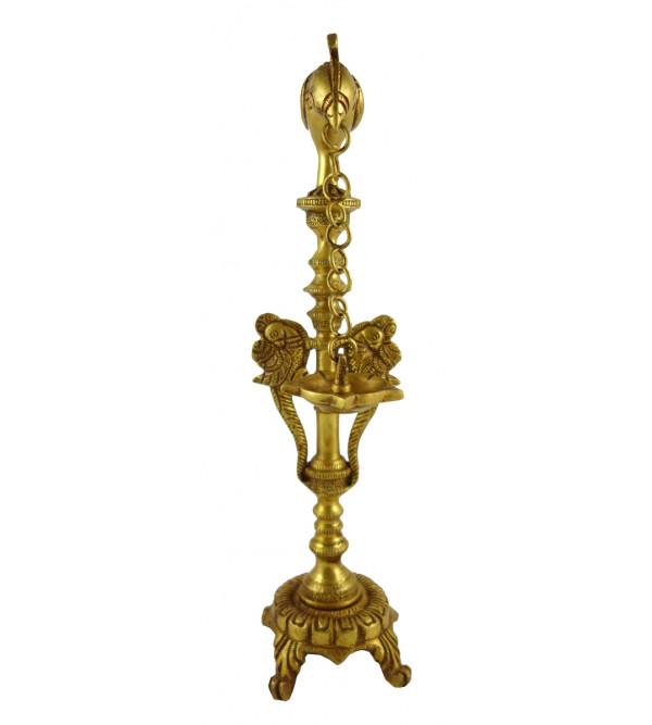 HANDICRAFT BRASS PARROT LAMP 11 INCH
