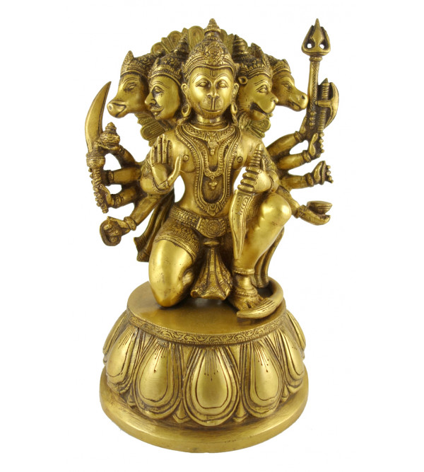 HANDICRAFT BRASS  5 FACES HANUMAN SITTING 13 INCH