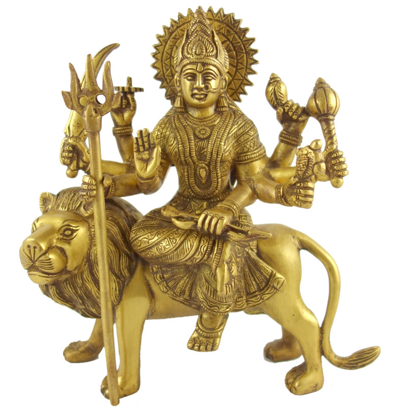 HANDICRAFT BRASS DURGA ON LION 9 INCH