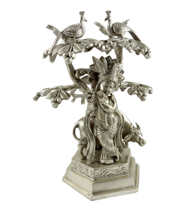 HANDICRAFT BRASS KRISHNA COW UNDER TREE  SILVER PLATED 10 INCH