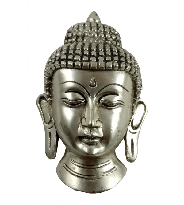 HANDICRAFT BRASS BUDDHA MASK  SILVER PLATED 5 INCH