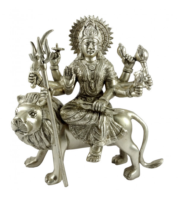 HANDICRAFT BRASS DURGA ON LION SILVER PLATED 10 INCH