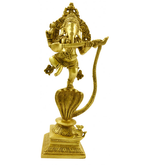 Handicraft Brass Ganesh on Snake 11 Inch